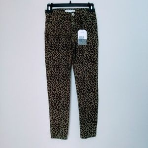 Zara Kids Girls Green Leopard Denim Pants Size 10